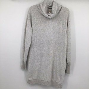 Lucy Funnel Neck Tunic Top Long Sleeve Large Gray